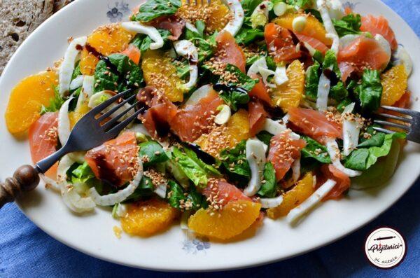 salata de fenicul, somon afumat si portocale