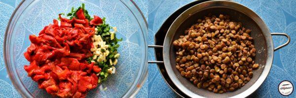 Salata de ardei copti cu linte si usturoi